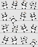 Panda Grau 100% Baumwolle Baumwollstoff Kinder Kinderstoff