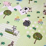 Stoff Meterware Tiere Bauernhof, Kuh Ziege Schwein Schaf
