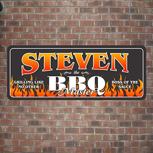 Eyrrme BBQ Master Personalisiertes Schild in Schwarz mit Tribal Flammen BBQ Wandschild Grillen Chef Personalisiertes Holzschild Geschenk
