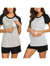 STRIR Camisetas Mujer Manga Larga Lactancia Maternidad Enfermeria  Camisas 56d288fe0ba