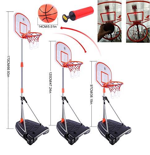 Mecotech Canasta Baloncesto Infantil, 97-170CM Ajustable Canasta Baloncesto con Dispositivo de puntuación...