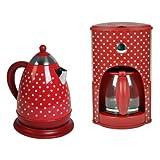 Team-Kalorik-Group Frühstücksset JK 1008 + CM 1008 Wasserkocher und Kaffeemaschine rot-weiß gepunktet Retro-Muster