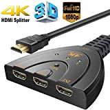 HDMI Switcher 4K,3 Port Switch With Pigtail HDMI Cable, Supports 4K, Full HD 1080p, 3D,For HDTV,PC,Projector,PS3,Xbox,STB,Blu-ray DVD Players,4k TV etc - 2 Year Warranty With Radhey Techno Service