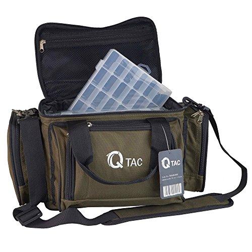 Q-Tac XC1 Angeltasche Robust u. Praktisch, Karpfentasche groß mit 4 herausnehmbaren Kunststoff Boxen, Anglertasche für Angelzubehör, Waschmaschinentauglich (30 Grad), 4 x Kunststoffköderboxen