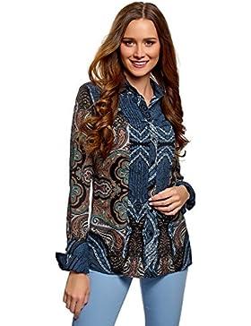 oodji Collection Mujer Blusa Ancha con Pespuntes Decorativos EN el Pecho