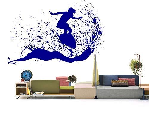 haotong11 Schöne Outdoor-Szene Mann Surfen auf Einem Surfbrett Wand Aufkleber In den Meereswellen Kunst Vinyl Aufkleber Home Decor DIY 84 * 57cm (Outdoor-wand-kunst-szene)