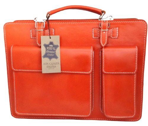 CTM Aktentasche Schultertasche Orange Tür Dokumente Männer, 38x29x11cm, 100% echtes Leder Made in Italy Orange