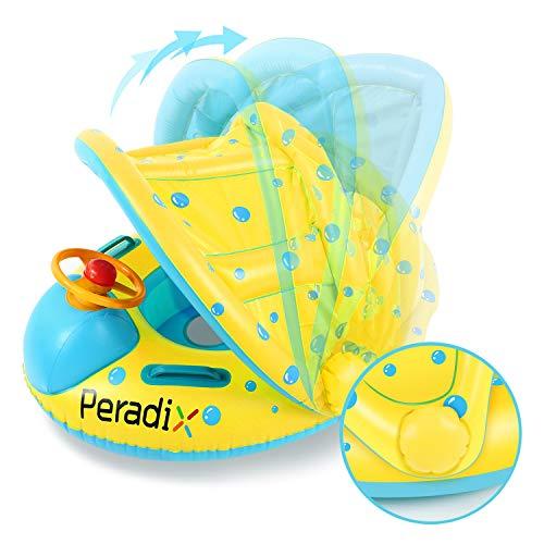 Peradix Flotador para bebés 6meses-3 Años Barco Inflable Flotador con Asiento Respaldo Techo Ajustable Juguetes de Desarrollo de Natación en Agua para Niños(Amarillo)