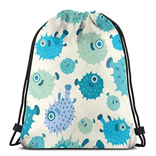best gift Puffer Blue Fish Drawstring Bags Gym Bag Backpack Shoulder Sackpack 16.9x14 inch - Blue Puffer