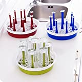 SMARTSTORE Round Glass & Mug Holder, Drainer, Rack with Draining Tray -Vegetable & Dish Drainer