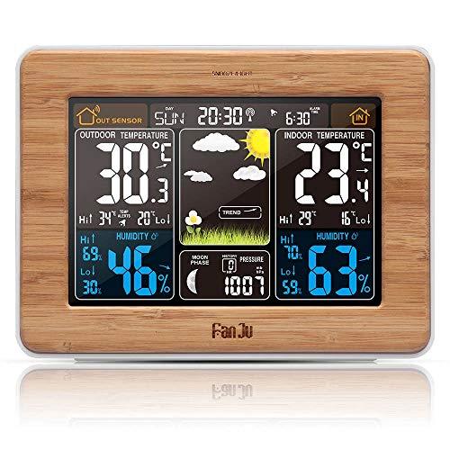 CAODANDE Reloj Despertador FanJu Estación meteorológica Temperatura Humedad Sensor de Pared Barómetro...