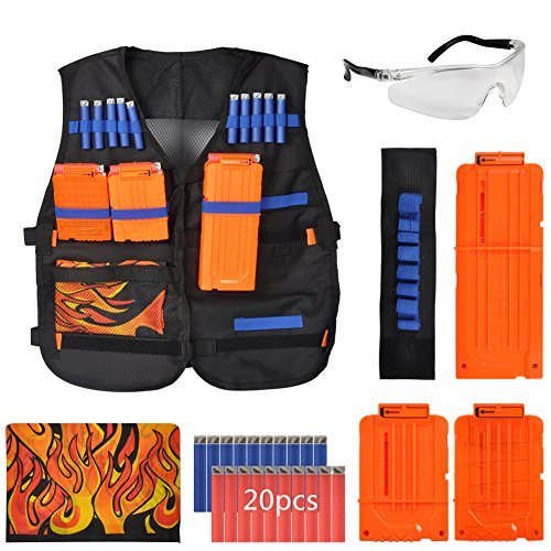 Tbest Kit de Chaleco Táctico para Niños (Chaqueta + 3Pcs Clips de Recarga + Mascarillas + 1Pcs Muñequera + Gafas Protectoras + 20Pcs Balas de Dardos para Nerf Gun N-Strike Elite Series