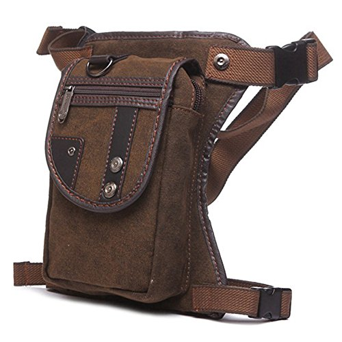 DUSISHIDAN Herren Wasserdichte Handtasche Brusttasche Beintasche Gürteltasche Hüfttasche multifunktionale Outdoor Leg Bag Braun