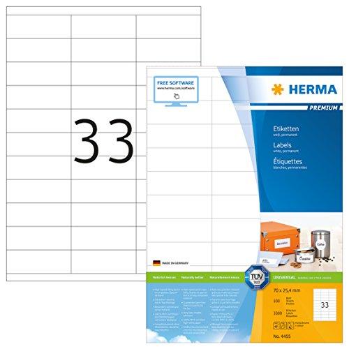 Herma 4455 Universal Etiketten (70 x 25,4 mm) weiß, 3.300 Aufkleber, 100 Blatt DIN A4 Premium Papier matt, bedruckbar, selbstklebend