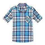 Bienzoe Jungen Baumwolle Plaid Aufgerollt Hülse Knopf unten Hemd Navy blau Größe 9/10
