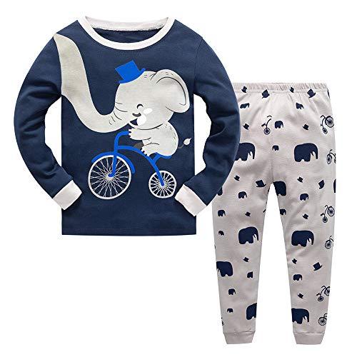 Fengbingl Moda algodón Elefante Estilo de Dibujos Animados casa Traje Ropa Interior niño niña (tamaño : 110cm)