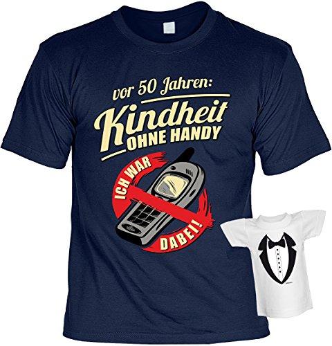 Lustige Sprüche Fun Tshirts - 50 Jahre KINDHEIT ohne HANDY Ich war dabei - incl. Mini-Shirt ohne Flasche Navyblau