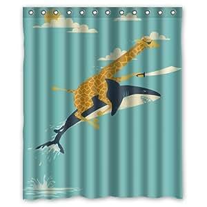 Requin BOSKGML girafe d'équitation imperméable rideau de douche en tissu de Polyester-Dimensions :  60 x 183 cm