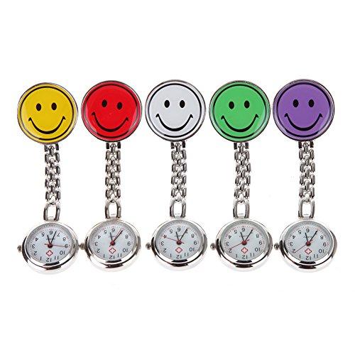 """AWStech AWStech Niedlich """"Smile Face"""" Clip On Nurse Doctor Krankenschwester Ärztliche Fob Pocket Watch Quarz Taschenuhr, Rot/Gelb/Weiß/Grün/Lila"""
