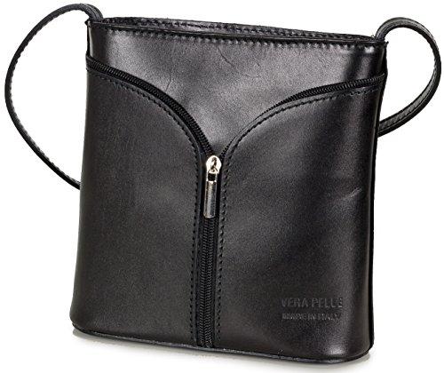 Kleine italienische Leder Umhängetasche - Abendtasche aus Glattleder (18 x 19 x 7 cm), Farben:Schwarz (Leder Braune Handtasche Italienische)