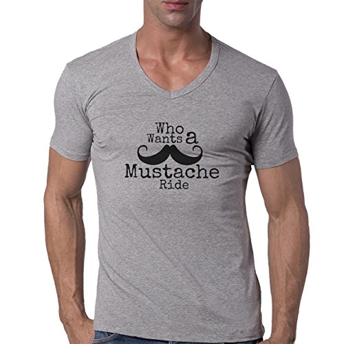 Moustache Ride Who Wants Logo Herren V-Neck T-Shirt Grau