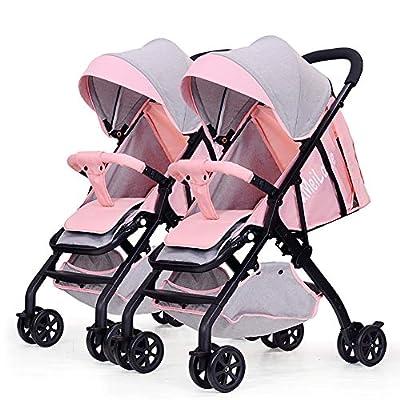 Strollers NAUY @ Cochecito de bebé Gemelo, Desmontable Ligero Suspensión Plegable Doble Carrito Infantil Sillas de Paseo