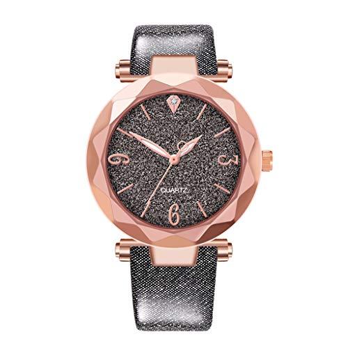 Uhren FüR Frauen, Vovotrade Frauen Faux Chronograph Quartz Classic Damen Kristall Armbanduhr Unisex Analog Quarz Uhr Mit Textil Armband Luxusuhren (Schwarz)