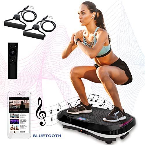 XPLON VPM015 Vibrationsplatte Vibration Platte inkl. Zugbänder Trainingsbänder 99 Stuffen USB Bluetooth Musik 200 Watt