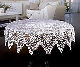 Weiß Tischdecke rund Spitze Crochet Effekt 149,9cm (150cm)