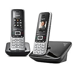 Gigaset S850A Duo Telefon - Schnurlostelefon / 2 Mobilteile - mit Farbdisplay / Dect-Telefon - Anrufbeantworter - schnurloses Telefon - mit Freisprechen - platin schwarz