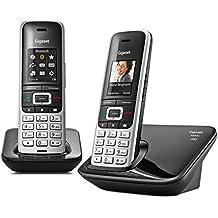 Gigaset S850A - Teléfono (Teléfono DECT, Terminal inalámbrico, 500 entradas, Identificador de llamadas, Servicios de mensajes cortos (SMS), Negro, Platino)