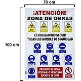 WOLFPACK 15050700 - Cartel Combinado Normas Obra 100x70 cm