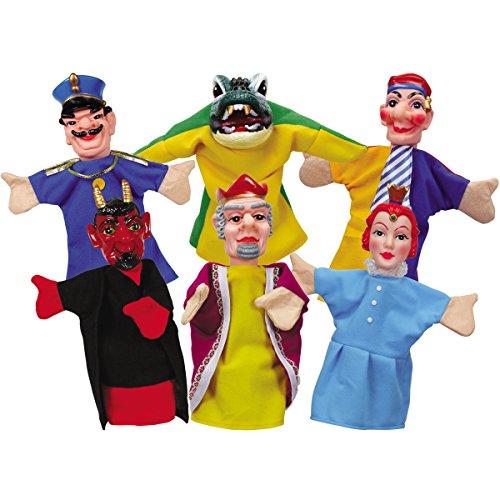 Unbekannt Kasperlfiguren, Handspielfiguren, 6-er Set: Kasperle Puppen Kasperletheater Handpuppen Puppen Theater Kasperltheater