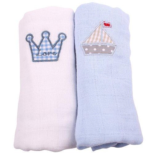 Minene Lot de 2 carrés en mousseline avec couronne et bateau brodés Blanc/bleu clair