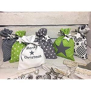 Adventskalender Säckchen24 Stoffsäckchen Beutel zum befüllen grün grau Sterne Handmade by Sinchns Bastelzauber