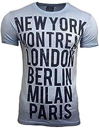 T-Shirt Kurzarm Herren Rundhals Stone Washed Optik Batik Shirt RN-16743 AVRONI, Größe:L, Farbe:Blau