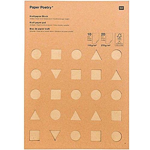 Paper Poetry - Kartenkarton A4, 30 Blätter, verschiedene Farben in braun, Bastelkarton Kraftpapier