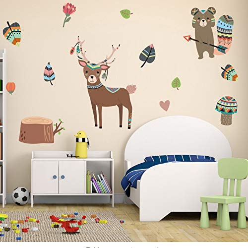 akeansa Wall Stickers Art Sticker Murals Decal Decals Children Vinyl Nordic Style Coon Animals Fox Deer DIY Wall for Kids Rooms Nursery Removable Wall Decals Posters Funny Home Decorc -