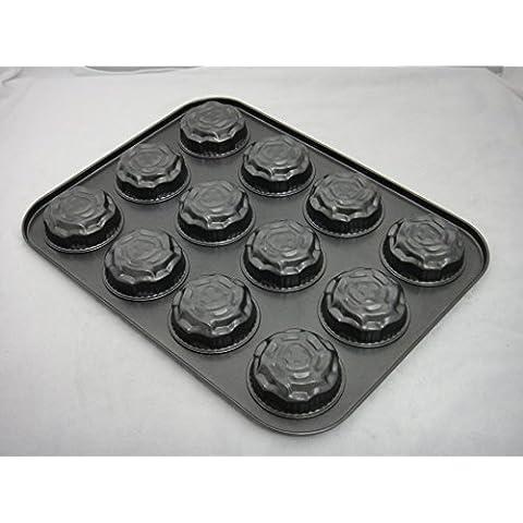 Hornear Herramientas Rosa 12agujeros de acero al carbono antiadherente Cake Moldes del consumidor y comercial hornos