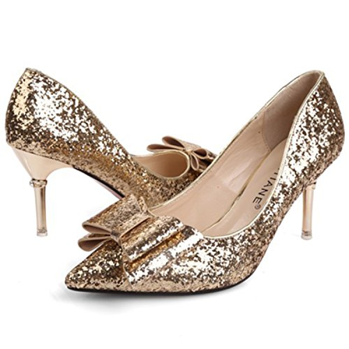Oasap Damen Spitz Pailletten Schleife Stiletto Pumps Golden