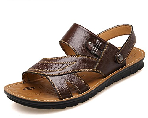 YCMDM Sandales pour hommes Printemps Été Automne Confort Chaussures de randonnée en peau de vachette en plein air Bureau Carrière Casual Upstream Shoes