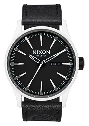 Nixon Herren-Armbanduhr Sentry Leather Analog Quarz Leder A105SW2243-00 (Nixon-digitaluhr-schwarz)