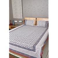 Bloque Impreso indio cama doble tamaño de la hoja de cama de algodón con la almohada cubre el tamaño 105 X 86 pulgadas