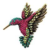 SELOVO Antique Gold Tone Bird Hummingbird Multi Color Austrian Crystal Pin Brooch Pendant