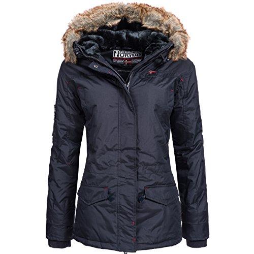GEOGRAPHICAL NORWAY Atlas Lady invernale da donna giacca con cappuccio con pelliccia sintetica blu navy L