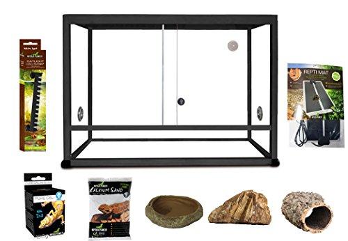 Reptiles Planet Elégance Kit Terrarium aus Aluminium für Gecko Leopard schwarz 45x 30x 30cm -