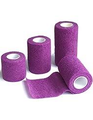 6 Rouleaux Bandage Cohésif 7.5cm x 4.5m, Sportif Blessures, Genouillères, Coudières, Médical Bandage - Violet