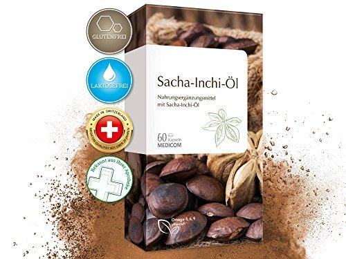 Sacha Inchi Öl Kapseln • 500 mg pro Tagesdosis • reich an Omega 3-6-9 Fettsäuren • optimale Bioverfügbarkeit • Ayurveda-Superfood, 60 Stück