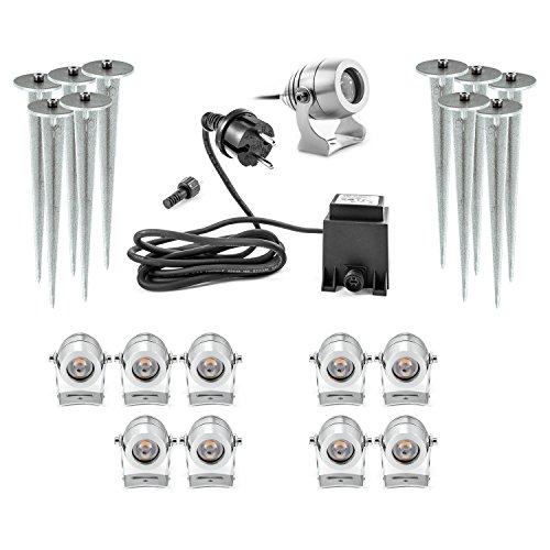 Luxus 10er Set LED Gartenstrahler aus Aluminium 10 Garten Aussenleuchten 12V 12 Volt 1W warmweiss