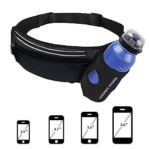 Sport Trinkgürtel Mit Wasserflaschenhalter Bauchtasche Gürteltasche Hüfttasche alle Handys unter 6.8″ Pockets Waistpacks Outdoors für Fitness Radfahren Wandern Walking für iPhone XS/8Plus Damen Herren
